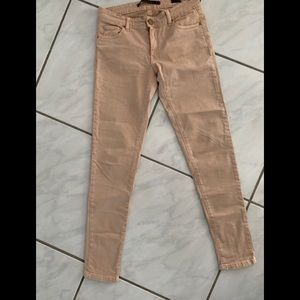 Zara slim fit tan Jeans with back ankle zippers